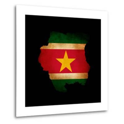 Outline Map Of Suriname With Grunge Flag Insert Isolated On Black-Veneratio-Metal Print