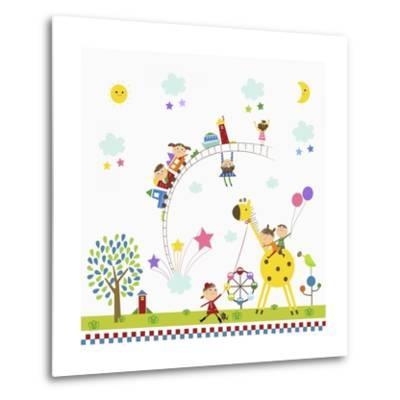 Happy Children in Amusement Park-TongRo-Metal Print