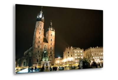 St. Mary's Basilica, Market Square, Krakow, Poland--Metal Print