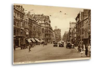 St Mary's Street in Cardiff--Metal Print