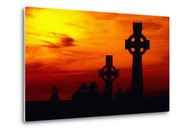 Celtic Crosses Silhouetted at Sunset-Carl Purcell-Metal Print