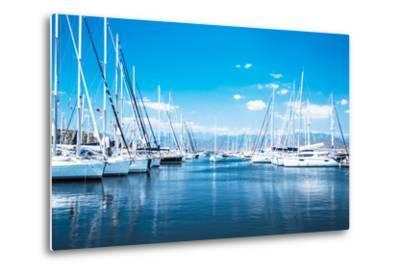 Sailboat Harbor, Many Beautiful Moored Sail Yachts in the Sea Port, Modern Water Transport, Summert-Anna Omelchenko-Metal Print