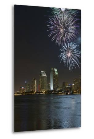 San Diego Bay Fireworks-lpound-Metal Print