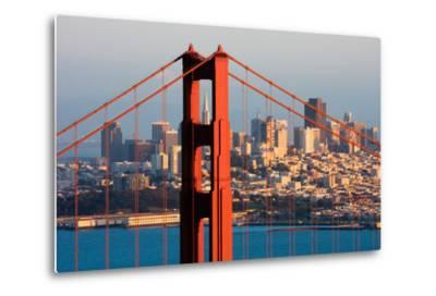 Golden Gate Bridge and Downtown San Francisco at Sunset-Andy777-Metal Print