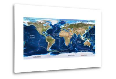Tectonic Plates Map-Ocean and Design-Metal Print