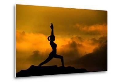 Silhouette of Woman Doing Yoga Meditation During Sunrise with Natural Golden Sunlight on Mountain-szefei-Metal Print