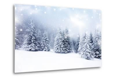 Christmas Background with Snowy Fir Trees-melis-Metal Print