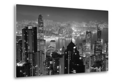 Hong Kong City Skyline at Night with Victoria Harbor and Skyscrapers Illuminated by Lights over Wat-Songquan Deng-Metal Print