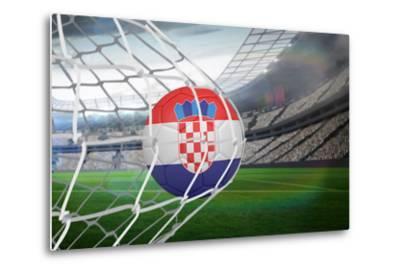 Football in Croatia Colours at Back of Net against Large Football Stadium with Lights-Wavebreak Media Ltd-Metal Print