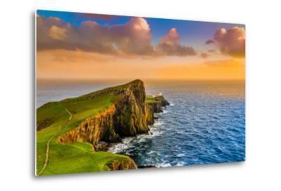 Colorful Ocean Coast Sunset at Neist Point Lighthouse, Scotland-MartinM303-Metal Print
