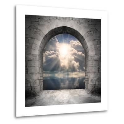 Way To New World. New Life Concept - Light Over Water-Kletr-Metal Print