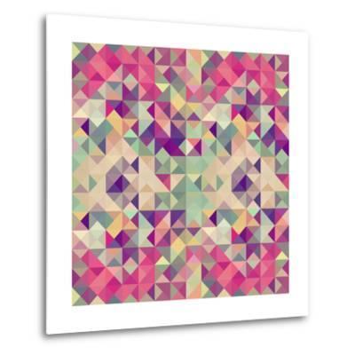Pink Geometric Pattern-cienpies-Metal Print