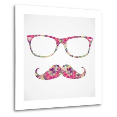 Retro Hipster Face Geometric Icons-cienpies-Metal Print