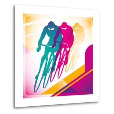 Illustrated Bicycle Driving In Color-Rashomon-Metal Print