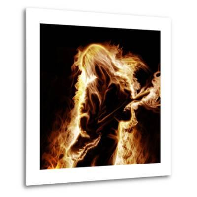 Musician With An Electronic Guitar Enveloped In Flames On A Black Background-Sergey Nivens-Metal Print