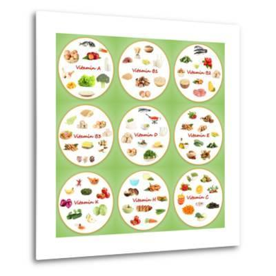 Collage Of Various Food Products Containing Vitamins-Yastremska-Metal Print
