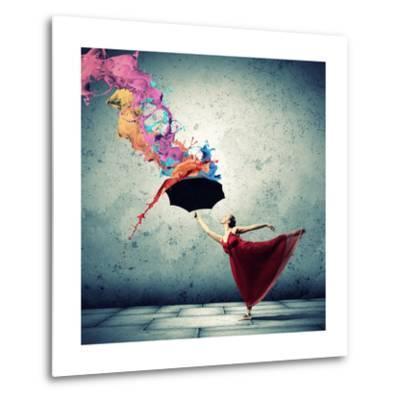 Ballet Dancer In Flying Satin Dress With Umbrella-Sergey Nivens-Metal Print