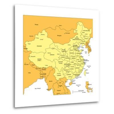 China With Administrative Districts And Surrounding Countries-Bruce Jones-Metal Print
