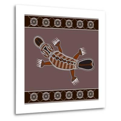A Illustration Based On Aboriginal Style Of Dot Painting Depicting Platypus-deboracilli-Metal Print