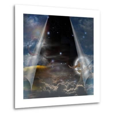 Veil Of Sky Pulled Open To Reveal Other-rolffimages-Metal Print