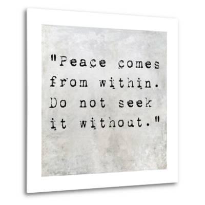 Inspirational Quote By Siddhartha Gautama (The Buddha) On Earthy Background-nagib-Metal Print