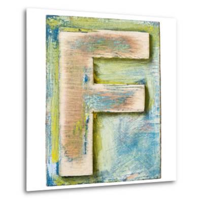 Wooden Alphabet Block, Letter F-donatas1205-Metal Print