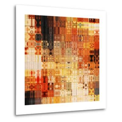 Art Abstract Rainbow Geometric Pattern Background In Red Color-Irina QQQ-Metal Print