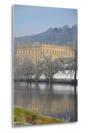 Chatsworth House from the Southwest over the River Derwent, Derbyshire--Metal Print