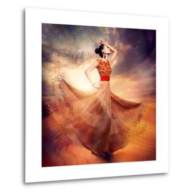 Dancing Fashion Woman Wearing Blowing Long Chiffon Dress-Subbotina Anna-Metal Print