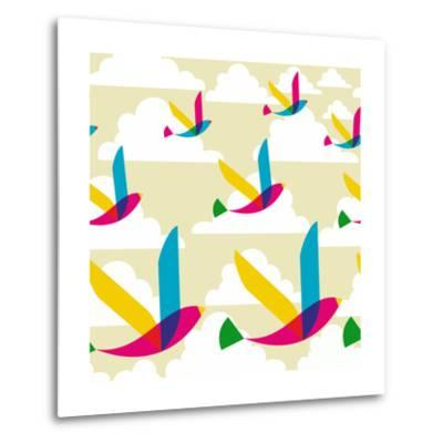 Transparent Multicolored Birds Pattern-cienpies-Metal Print