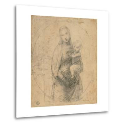 Drawing, Madonna and Child at two thirds figure-Raphael-Metal Print