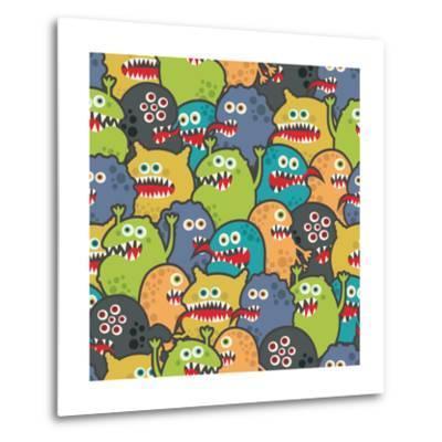 Cute Monsters Seamless Texture-panova-Metal Print