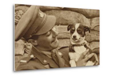 Canadian Soldier with a Dog 'Captured' at Courcelette, Somme, France, World War I--Metal Print