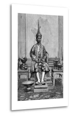 King of Siam on Throne--Metal Print
