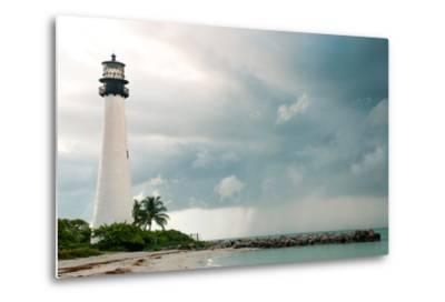 Lighthouse in a Cloudy Day with a Storm Approaching-Santiago Cornejo-Metal Print