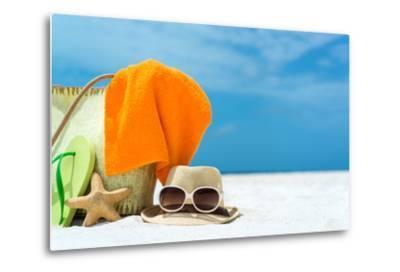 Summer Beach Bag with Coral,Towel and Flip Flops on Sandy Beach-oleggawriloff-Metal Print