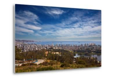 View on Vina Del Mar and Valparaiso, Chile-Nataliya Hora-Metal Print