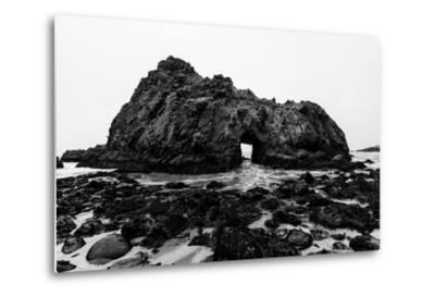 California Pfeiffer Beach in Big Sur State Park Dramatic Black and White Rocks and Waves-holbox-Metal Print