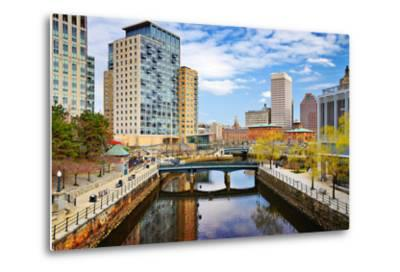 Providence, Rhode Island Cityscape at Waterplace Park.-SeanPavonePhoto-Metal Print