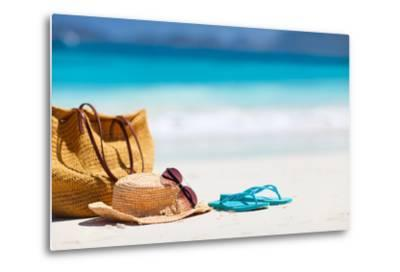 Straw Hat, Bag, Sun Glasses and Flip Flops on a Tropical Beach-BlueOrange Studio-Metal Print