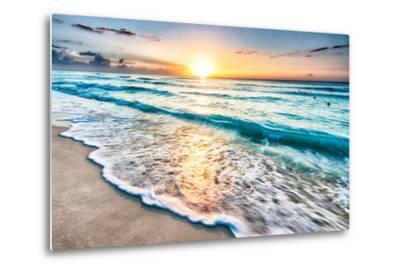 Sunrise over Beach in Cancun-rebelml-Metal Print