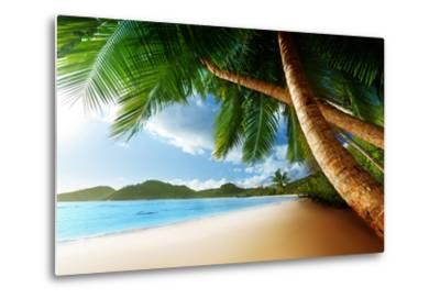 Sunset on Beach Anse Takamaka of Mahe Island, Seychelles-Iakov Kalinin-Metal Print