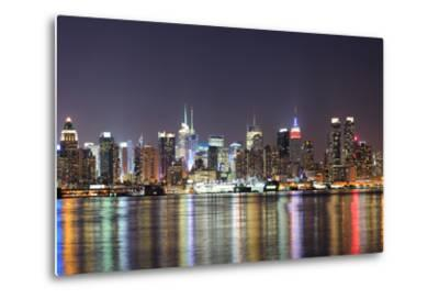 New York City Manhattan Midtown Skyline at Night with Lights Reflection over Hudson River Viewed Fr-Songquan Deng-Metal Print