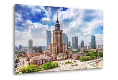 Warsaw, Poland. Aerial View Palace of Culture and Science and Downtown Business Skyscrapers, City C-Michal Bednarek-Metal Print