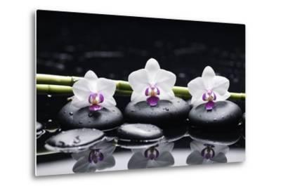 Spa Still Life with Three Orchid and Zen Stones with Bamboo Grove Reflection-crystalfoto-Metal Print