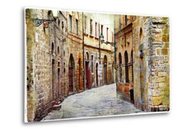 Streets of Medieval Towns of Tuscany. Italy-Maugli-l-Metal Print