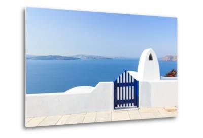 Santorini Balconny with View at the Aegean Sea-Netfalls-Metal Print