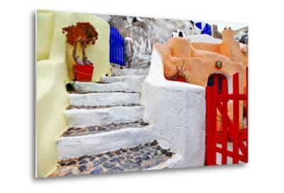 Colors of Santorini Series - Pictorial Detail of Oia Village-Maugli-l-Metal Print
