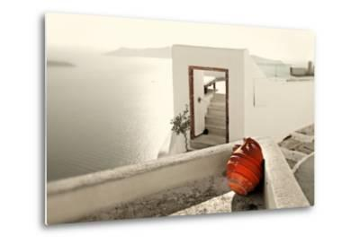 Romantic Holidays - Amazing Santorini . Artistic Toned Picture-Maugli-l-Metal Print