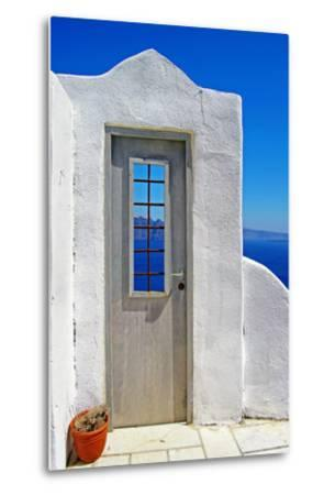 Architectural Details of Santorini - Traditional Cycladic Style-Maugli-l-Metal Print